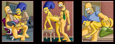 Big girls - big sex offers! : Homer Simpson Marge Simpson Ned Flanders
